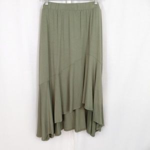 Ava & Viv Olive Green Asymmetrical Hem Full Skirt